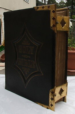 antique family Bible brass corner clasps!! blank family pages.  LOOK & READ