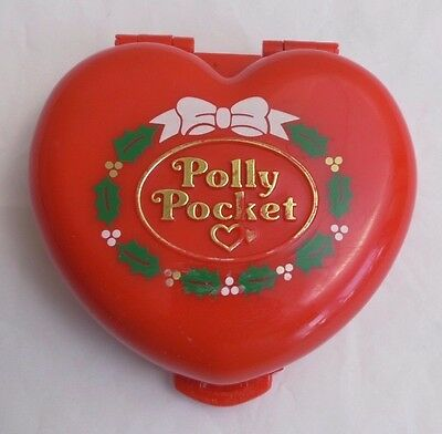 Polly Pocket red Christmas Compact 1989 with snowman figure plays music