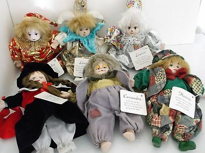 Classic Treasures Porcelain Dolls Head Hands Feet Clothed Named Lot of 6