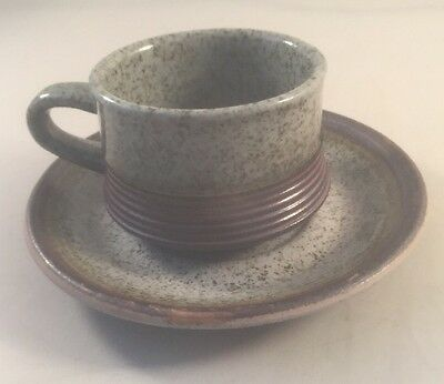 Vintage Purbeck Pottery Porland cup and saucer Purbeck mug and saucer set c70s
