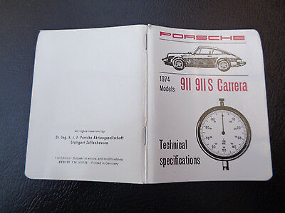 1978 Porsche 911, 911S Carrera Pocket Book  Technical Specifications