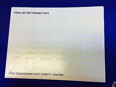 Hornby 00 Class 43 HST Numbering 4mm Transfer Decal Spares !!
