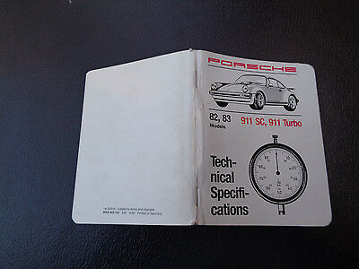 1987 Porsche 911, SC, 911 Turbo Pocket Book  Technical Specifications English