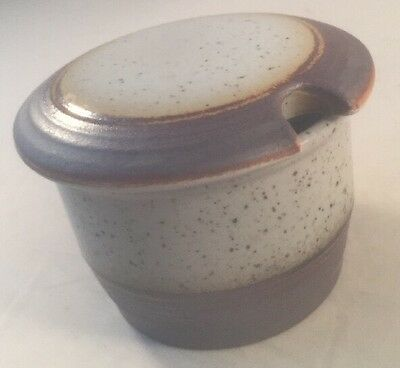 70s Purbeck Pottery ' Portland ' Grey Speckled Lidded sugar/jam pot