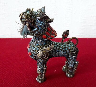 Vintage Chinese Shi (Foo Dog), Design with Turquoise and Coral on Brass