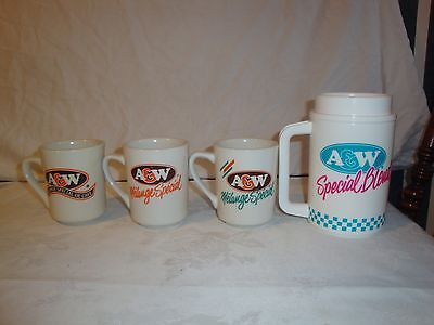 A&w Coffee Cup Mug Glass Special Blend Set Of 4 A&w Rootbeer Coffee Cups Mugs