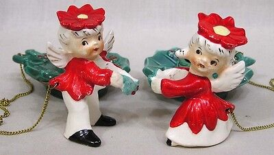 Vintage Christmas Commodore Poinsettia Angel Candle Climbers and Bases in OB