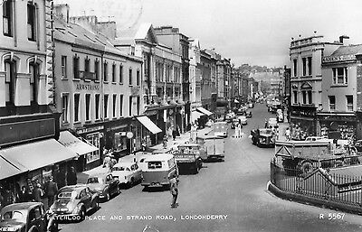 WATERLOO PLACE & STRAND ROAD LONDONDERRY DERRY IRELAND IRISH POSTCARD No. R5567