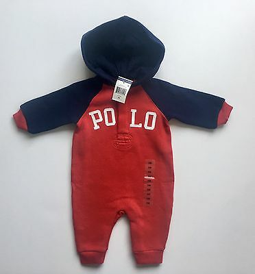 NWT Ralph Lauren Baby Boy Red Blue Polo One-Piece Hooded Coverall 3 Mos