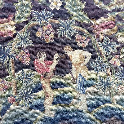 Gorgeous ANTIQUE needlepoint cross stitch EMBROIDERED picture tapestry LARGE VGC