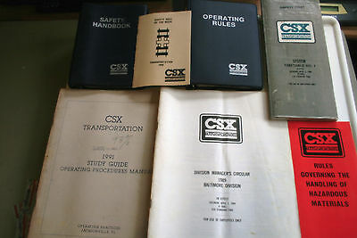 Csx Transportation, (8) Vintage Train Documents, Manuals, Binders, Papers, Rules