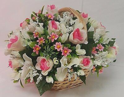 Artificial Flowers Oval Basket Arrangement Cream Pink Rosebud Alstro