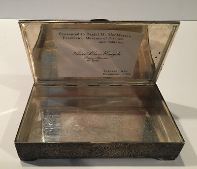 P2891] Pahlavi Silver Box Gift From Amir Abbas Hoveyda Prime Minister 1974