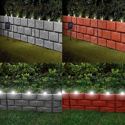 Brick Effect Plastic Hammer-In Lawn Garden Edging Border With Solar LED Lights