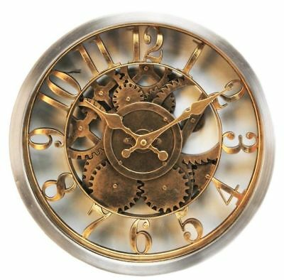Antique Brushed Gold Finish Wall Clock Glass Face Skeleton Dial W7800