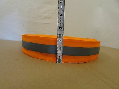 "Safety Silver Reflective Sew On Fabric Tape Strip ORANGE Vest 2"" - 10 YARDS"