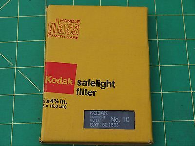"Kodak Safelight Filter Wratten Series 10 3-1/4"" x 4-3/4"" Vintage Darkroom Glass"