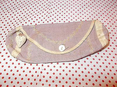 Antique Handmade Sewing Pocket Embroidery & Monogram Tiny Strawberry Emery 1800s