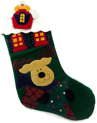 """Appliqued Christmas Stocking 18"""" Soft Velveteen Fabric Dog with Reindeer Antlers"""