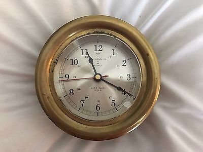 Vintage Ship Clock.  Brass Made In U.S.A