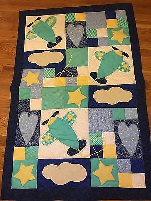 New Handmade Baby Girl Boy Quilt Crib Blanket Airplanes Appliqued Patchwork