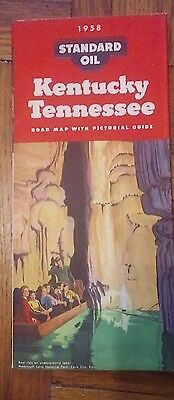 1958 Standard Oil Kentucky/Tennessee Vintage Road Map / Mammoth Cave on Cover