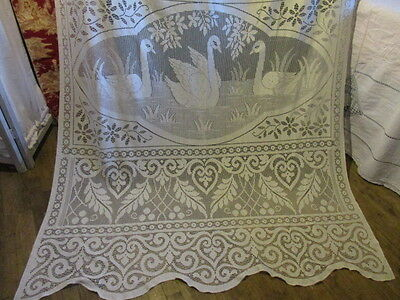 Beautiful Vintage French Filet Lace Curtain Portiere Swans and Scrolls Very Long