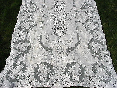 """Vintage Quaker Lace Tablecloth 97"""" by 60""""  Victorian style, Ecru,Beautiful"""