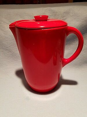 """Universal Cambridge Potteries 2 Quart Red Covered Lidded Milk Pitcher 7.5"""" LOOK!"""