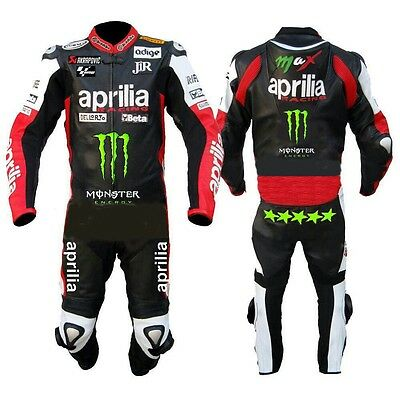 Aprilia  MOTORBIKE RACING 1piece LEATHER SUIT moto gp one piece  free gloves