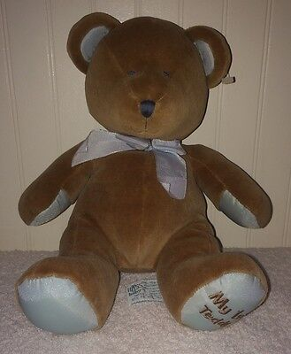 Russ Berrie Baby My First Teddy Bear Plush Brown Blue Stuffed Animal Rattle 9""