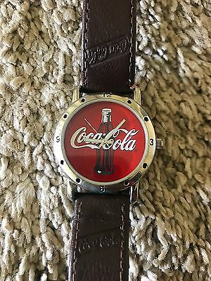 2002 Coca-Cola Watch with Leather Band and Coke Logo Face F17313-1/F