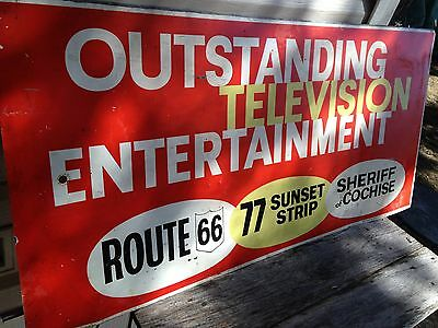 Old Route 66 Double sided Television Advertising Tin Sign