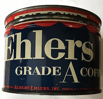1Lb Ehlers Keywind Coffee Tin Can Correct Top Lid Great Blue Color