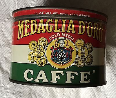 1Lb Medaglia D' Oro Keywind Coffee Tin Can Correct Top Lid Great Graphics