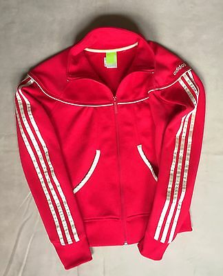 Adidas Girl Boy Size Medium  Zip Up Jacket Stripes Red Gold Super Cute