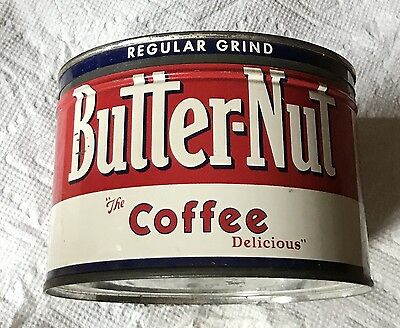 1Lb Butter-Nut Keywind Coffee Tin Can Correct Colored With Great Graphic Top Lid