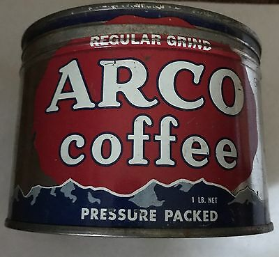 1Lb Arco Keywind Coffee Tin Can Correct Top Lid With Great Graphics
