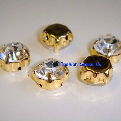 1440pc millinery clothing loose sew on CLEAR rhinestone crystal chaton bead GOLD