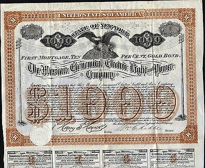 $1000 Mexican Econonical Electric Light And Power Co Gold Bond, 1884 + 8 Coupons