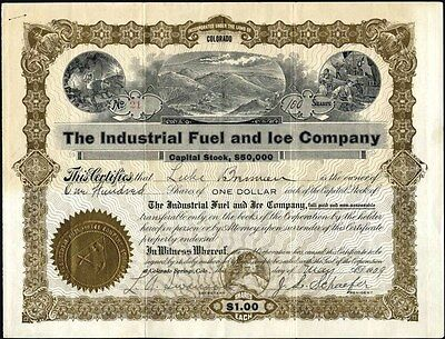 Industrial Fuel And Ice Co, 1909, Colorado Springs, Co Stock Certificate