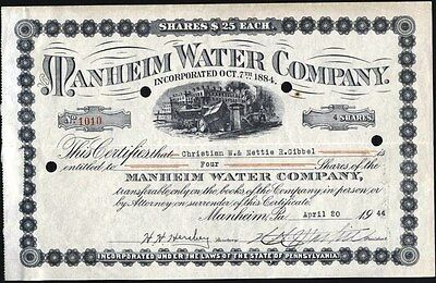 Manheim Water Co, Manheim, Pa, 1944 Stock Certificate