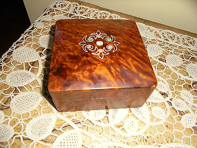 Vintage Burl Wooden Box With Mother Of Pearl lay