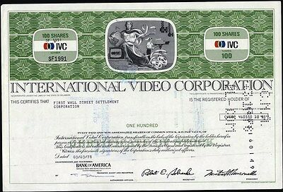 International Video Corporation, 100 Share Stock Certificate