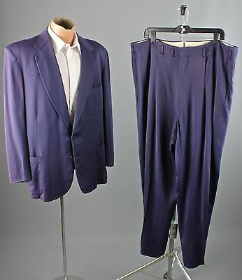Vtg 50s Men's Purple Rayon Gabardine Suit Jacket sz XL Pants 40x30 1960s #2482