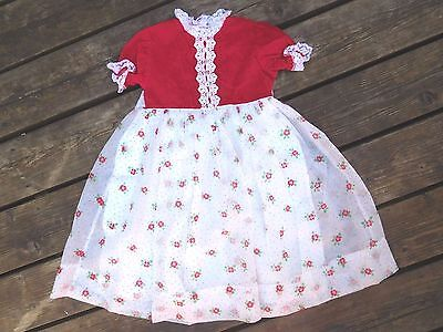 VTG baby girl dress red floral flocked sheer flower lace white dotted swiss