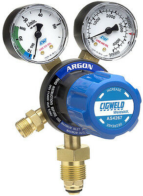 CIGWELD CutSkill Argon Regulator - 40LPM 2 Gauge Vertical Inlet AS4267