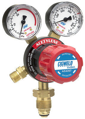 CIGWELD CutSkill Acetylene Regulator -  150KPA 2 Gauge Vertical Inlet AS4267