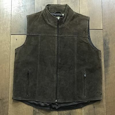 DCC Brown Suede Zip Front Leather Vest Fully Lined Women's Size S Small