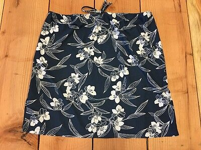 Women's Old Navy Maternity Blue Floral Skirt Size Medium M Side Slits Stretchy
